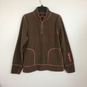 Life is Good brown fleece 1/4 zip jacket- L